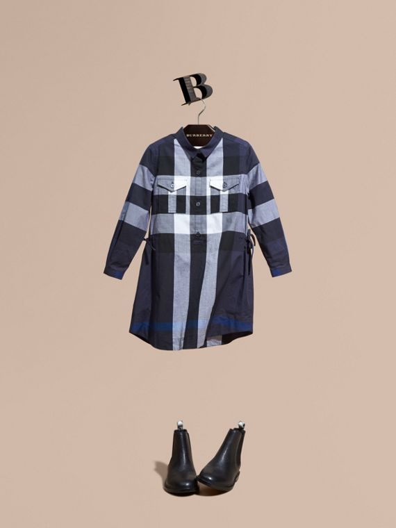 Check Cotton Shirt Dress Navy