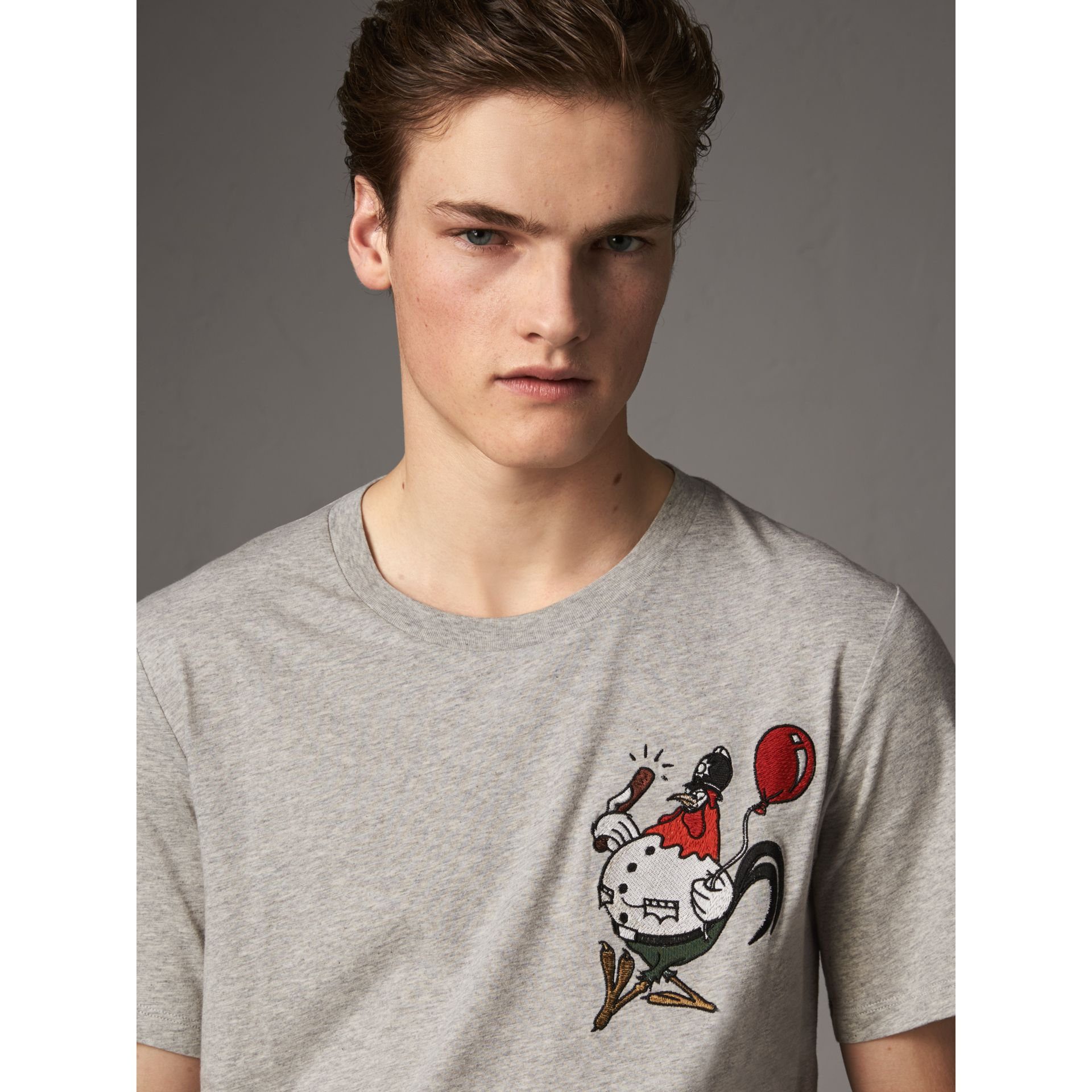 Sketch Appliqué Cotton T-shirt in Pale Grey Melange - Men | Burberry - gallery image 2