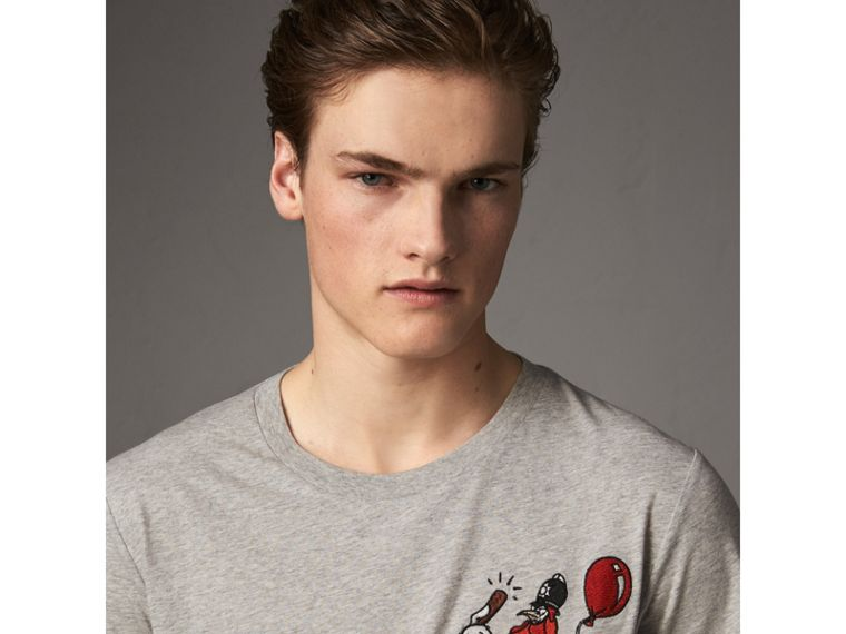 Sketch Appliqué Cotton T-shirt in Pale Grey Melange - Men | Burberry United Kingdom - cell image 1