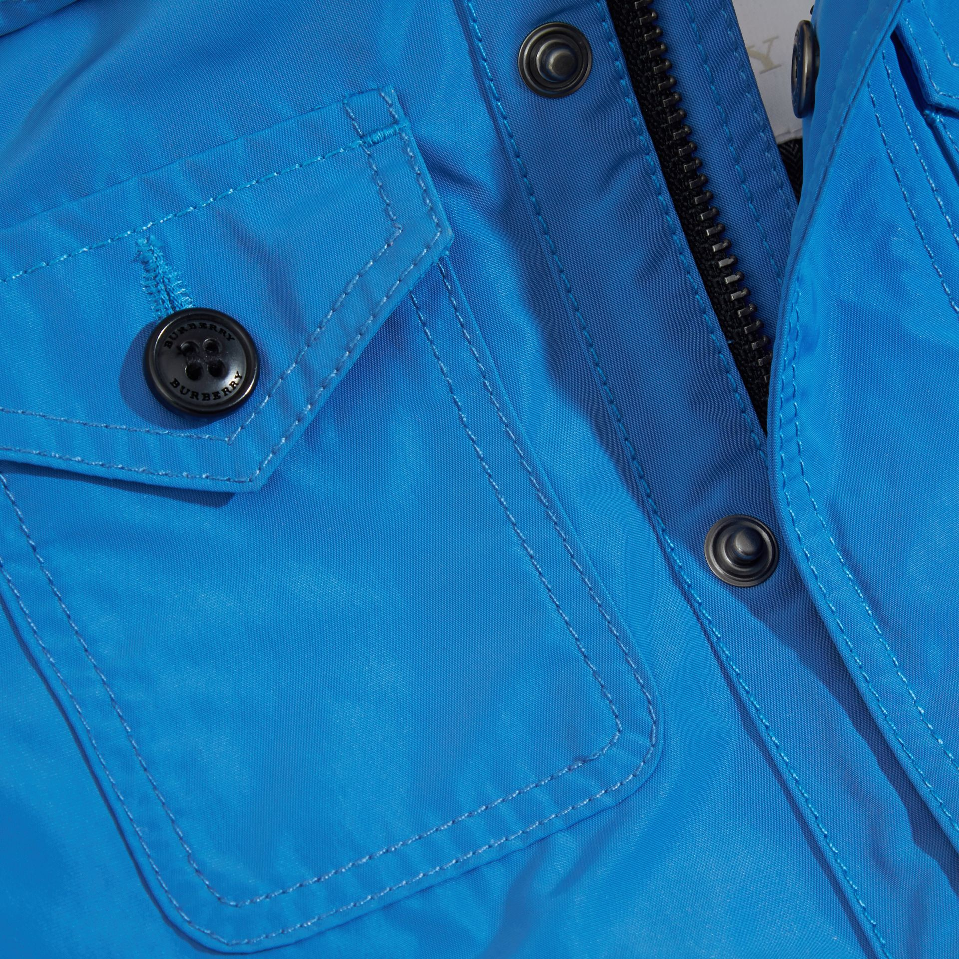 Hooded Technical Jacket Bright Hydrangea Blue - gallery image 2