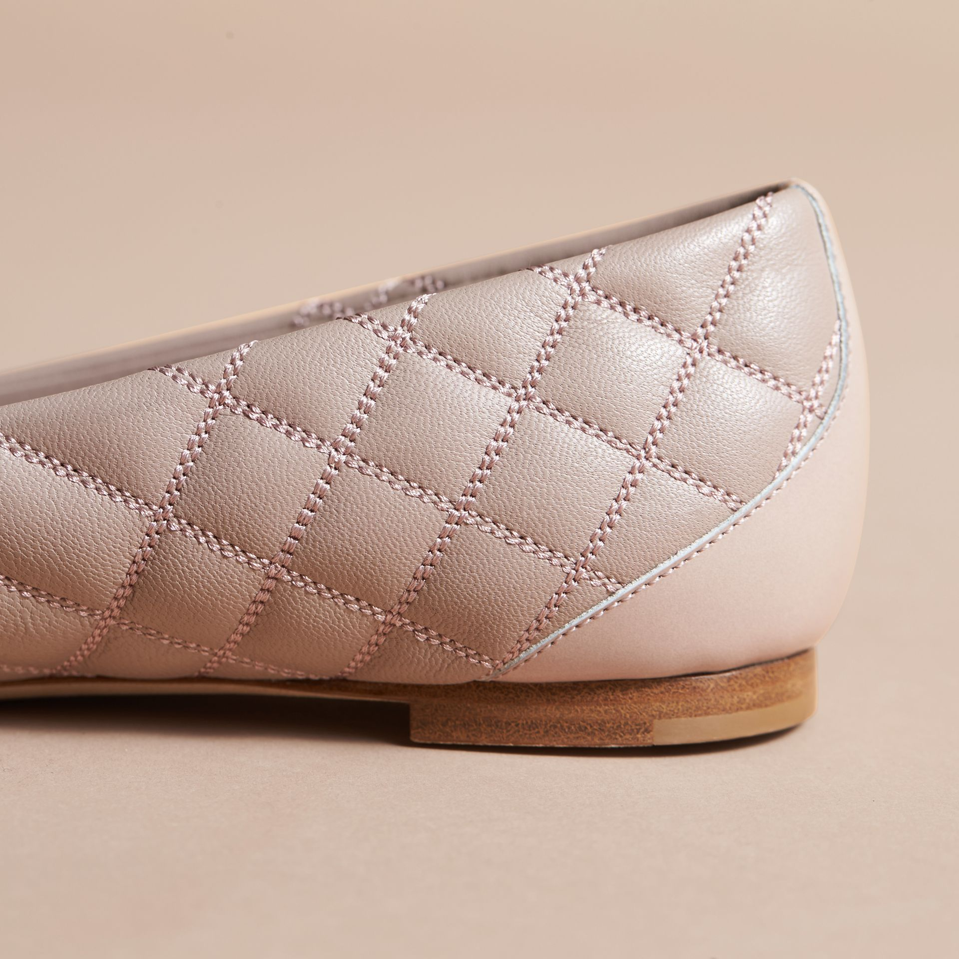 Buckle Detail Quilted Lambskin Leather Ballerinas in Ivory Pink - Women | Burberry - gallery image 5