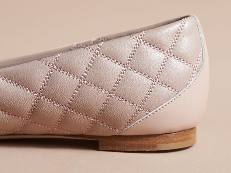 Buckle Detail Quilted Lambskin Leather Ballerinas in Ivory Pink - Women | Burberry - cell image 4