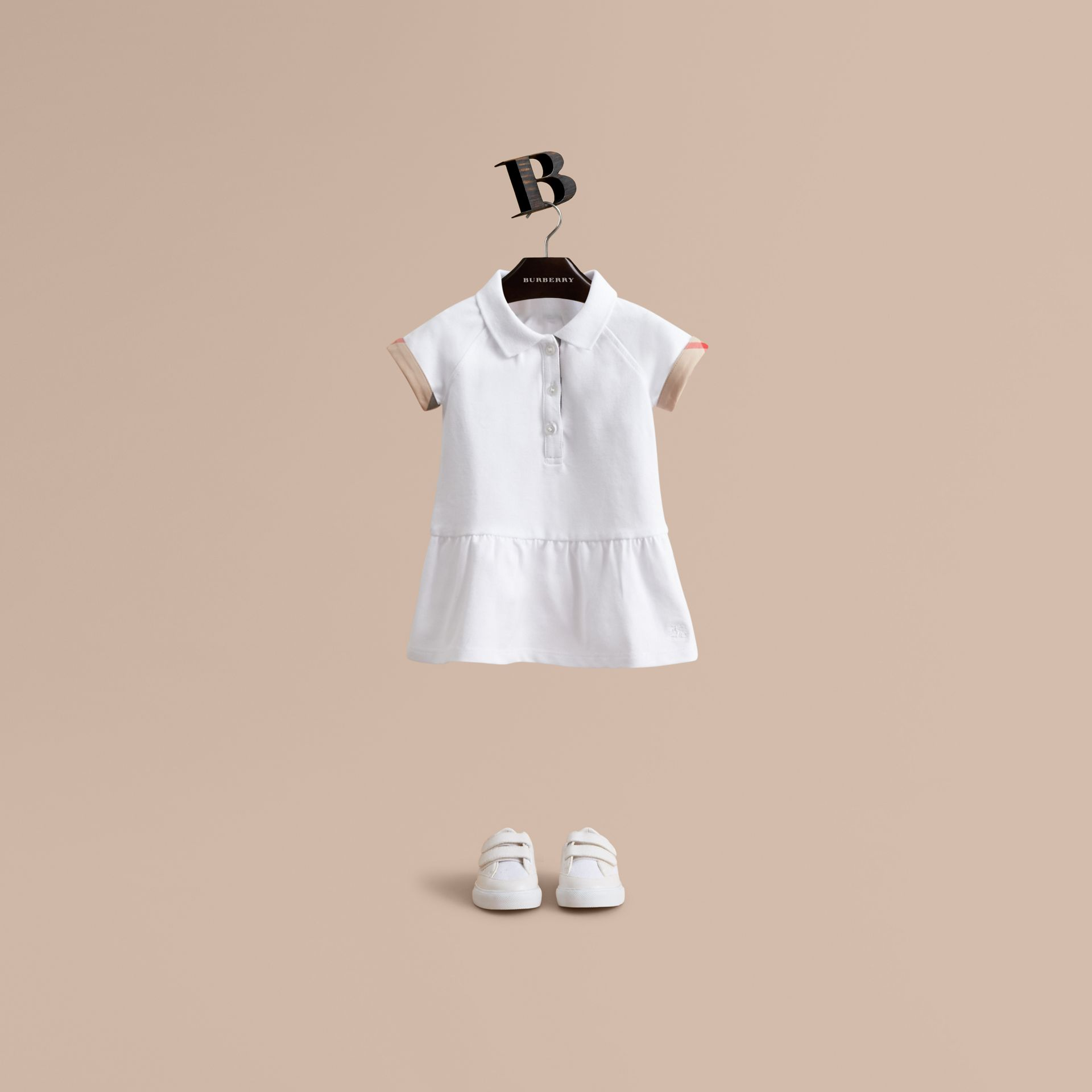 Check Detail Stretch Cotton Piqué Dress in White | Burberry United Kingdom - gallery image 1