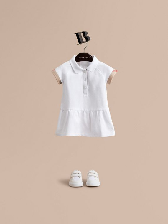 Check Detail Stretch Cotton Piqué Dress in White