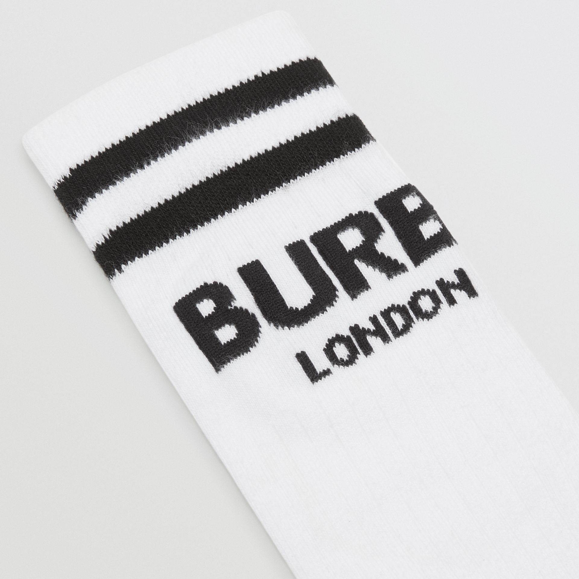 Logo Cotton Blend Socks in White/black - Children | Burberry Australia - gallery image 1