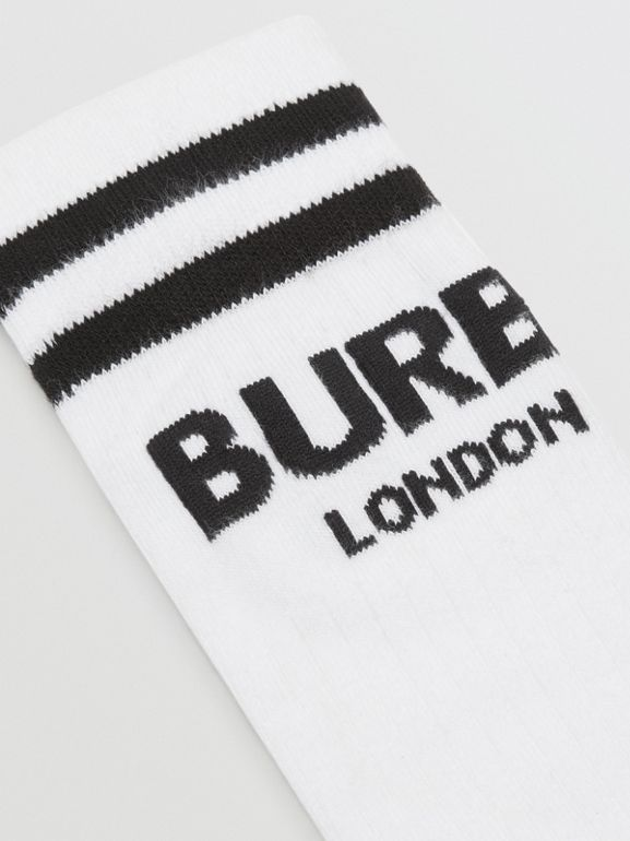 Logo Cotton Blend Socks in White/black - Children | Burberry Singapore - cell image 1