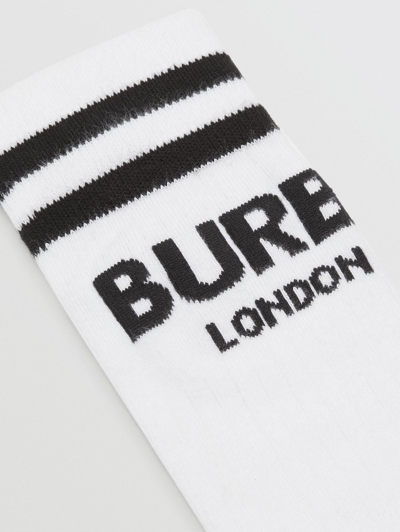 Logo Cotton Blend Socks in White/black
