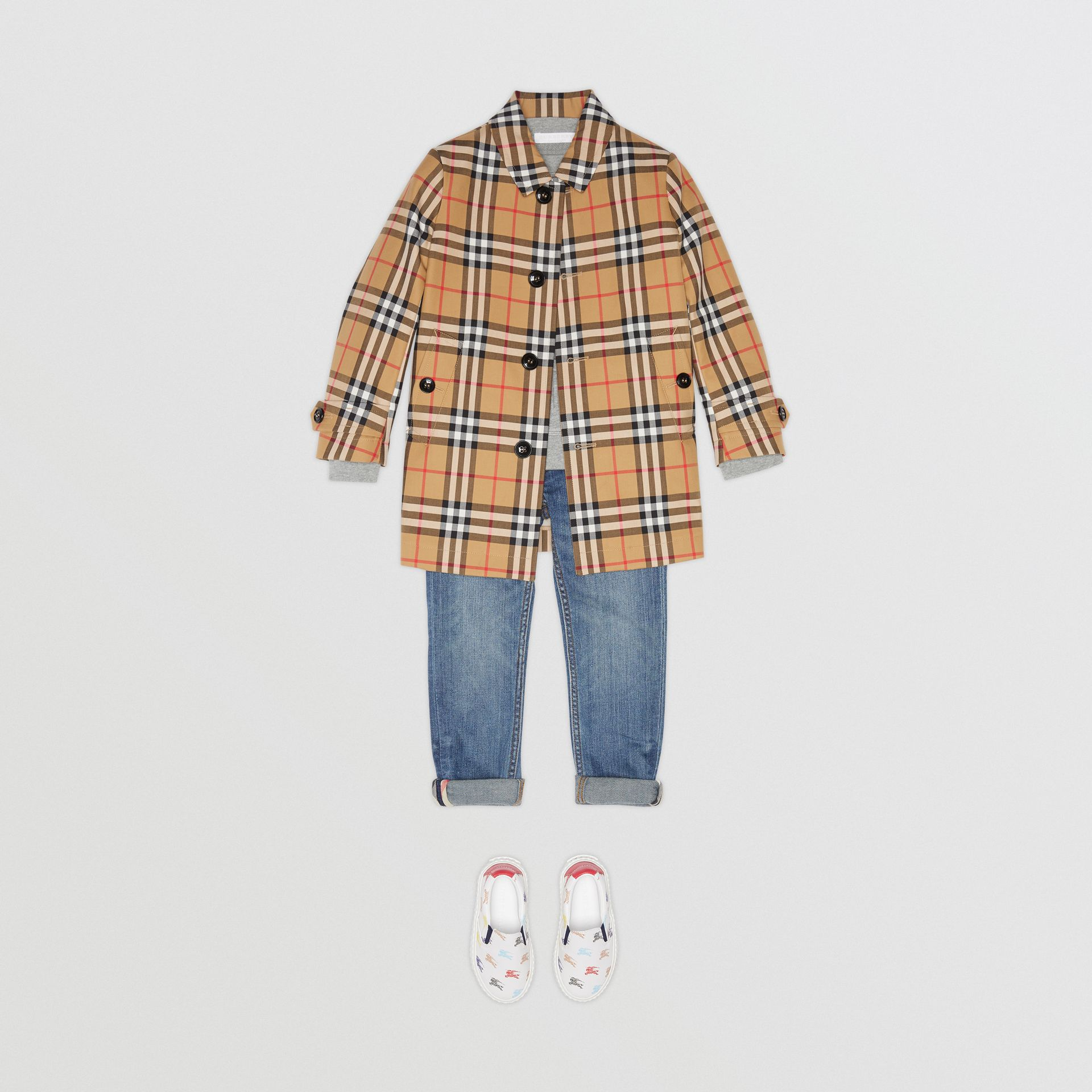 Vintage Check Cotton Car Coat in Antique Yellow - Boy | Burberry - gallery image 2