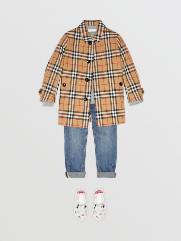 Vintage Check Cotton Car Coat in Antique Yellow | Burberry - cell image 2