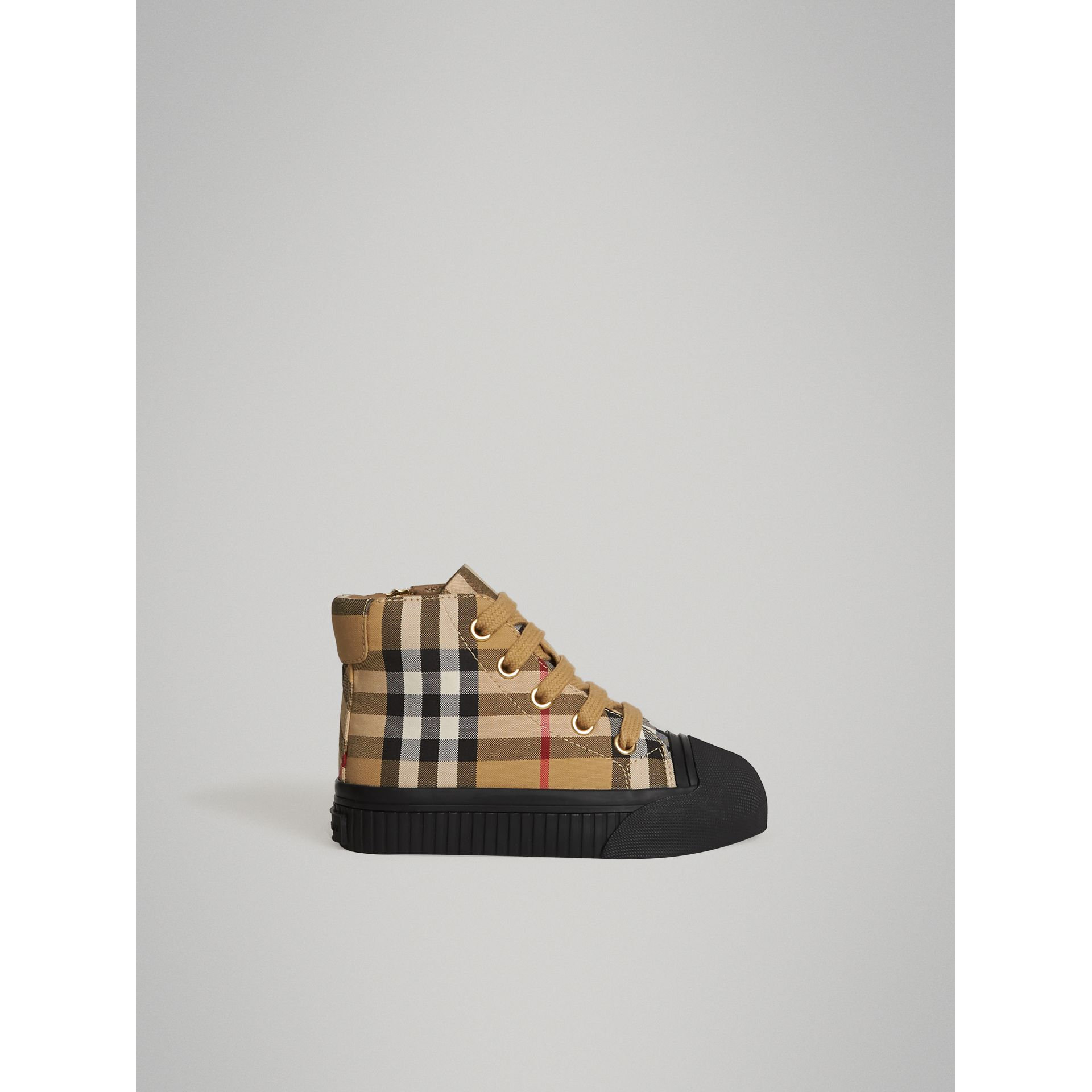 Vintage Check and Leather High-top Sneakers in Antique Yellow/black | Burberry Australia - gallery image 3