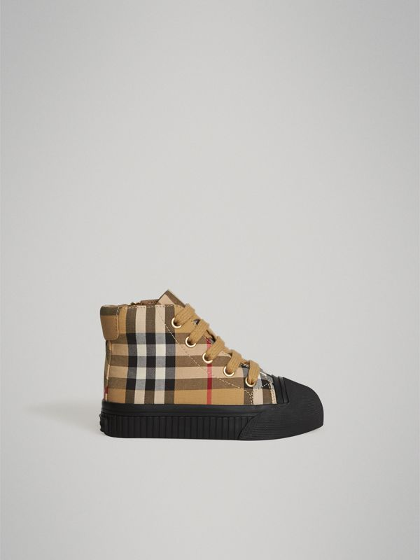 Vintage Check and Leather High-top Sneakers in Antique Yellow/black - Children | Burberry Canada - cell image 3