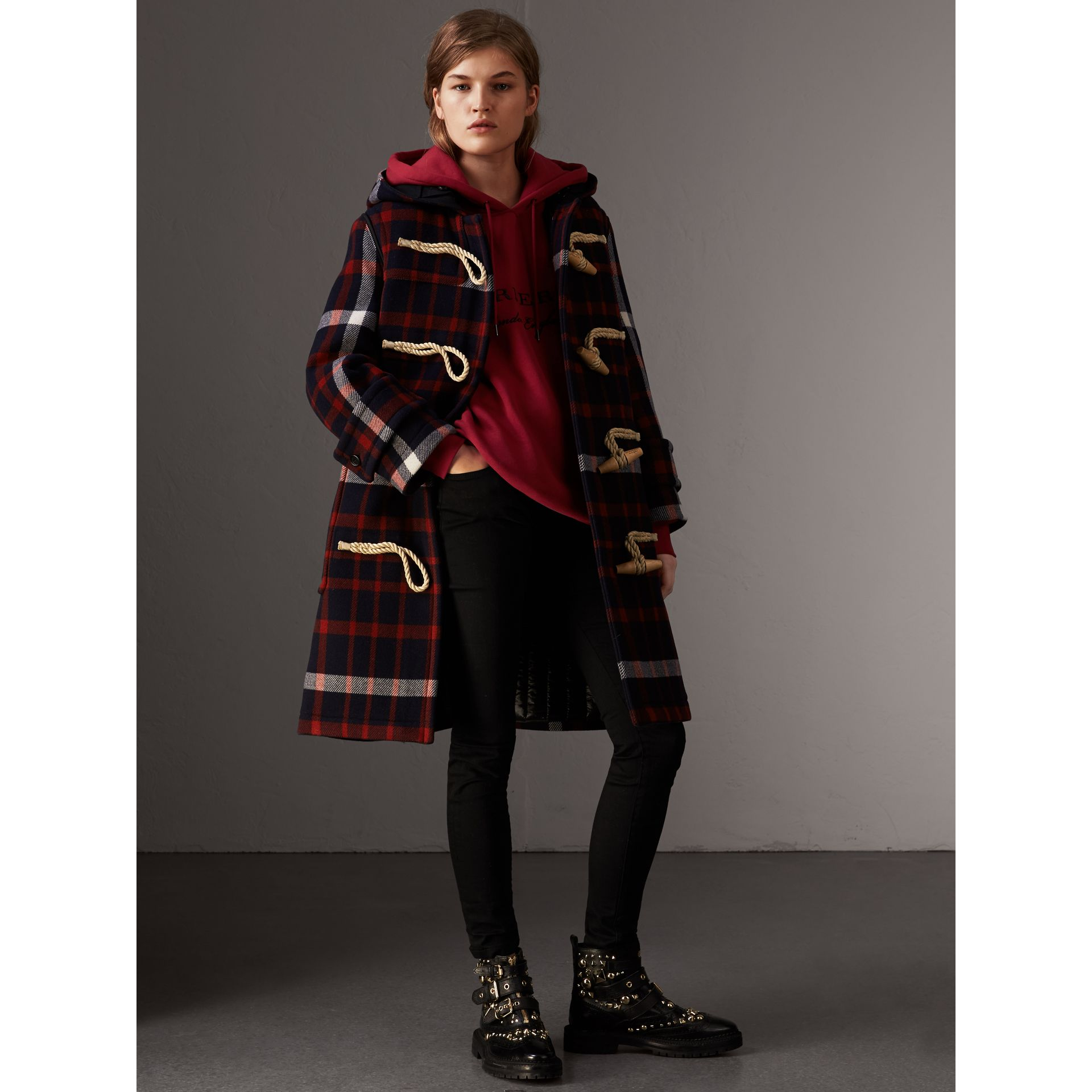 Check Wool Duffle Coat with Detachable Warmer in Navy/black - Women | Burberry Australia - gallery image 6
