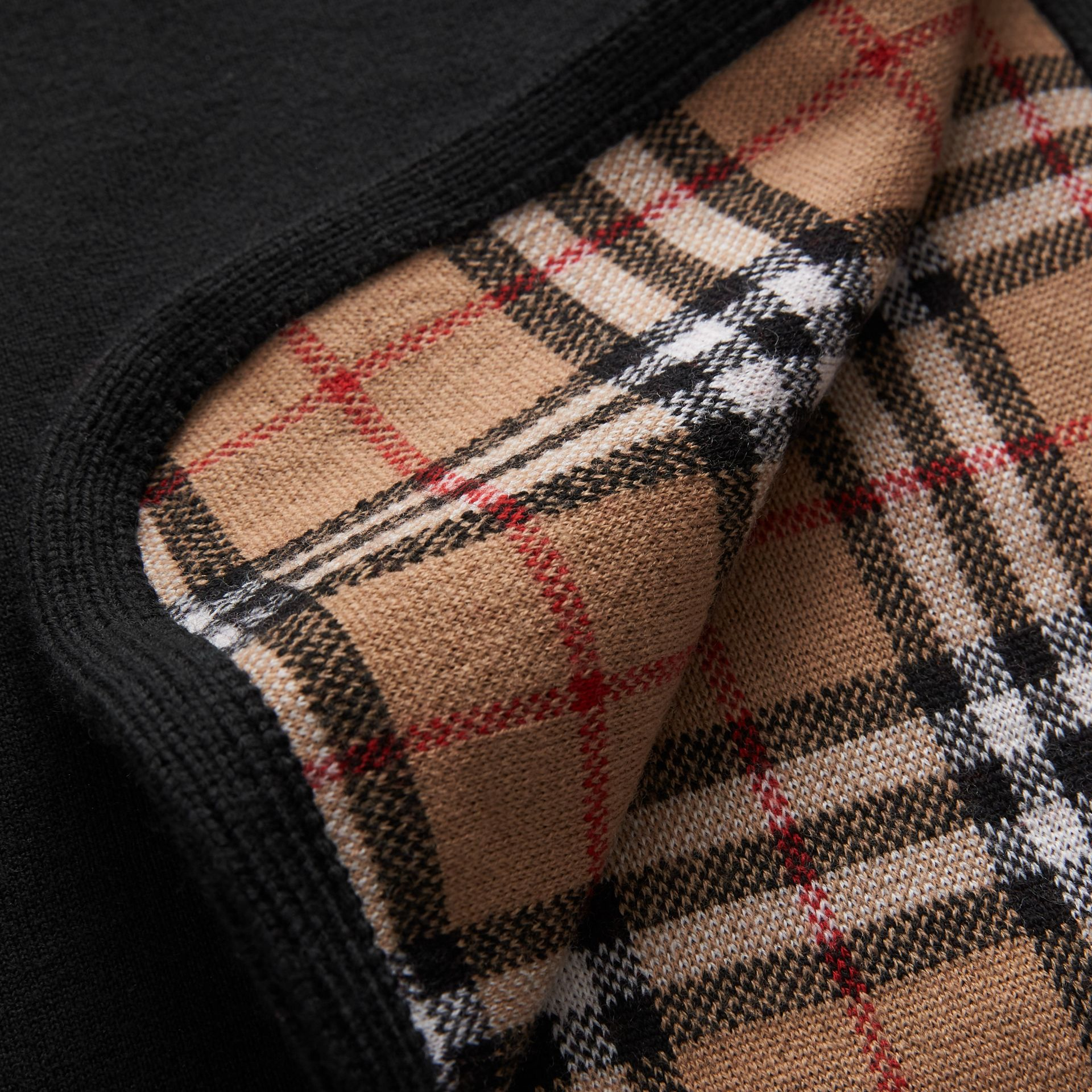 Reversible Vintage Check Merino Wool Jacquard Poncho in Black - Children | Burberry United States - gallery image 1