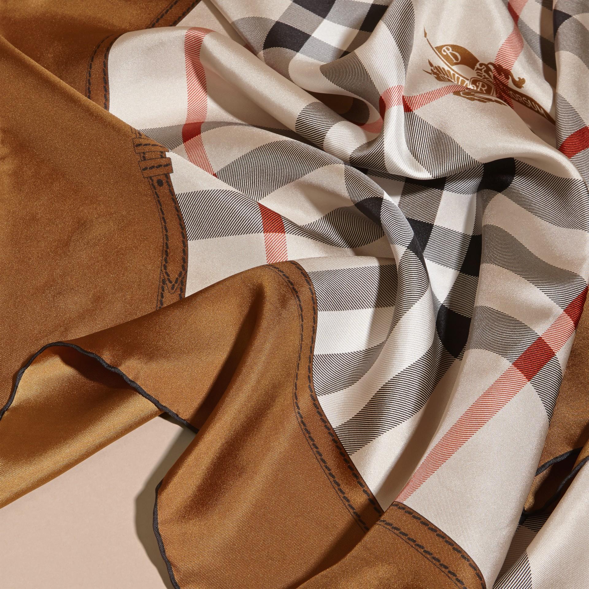 Tan Horseferry Check Silk Square – Medium Tan - gallery image 2