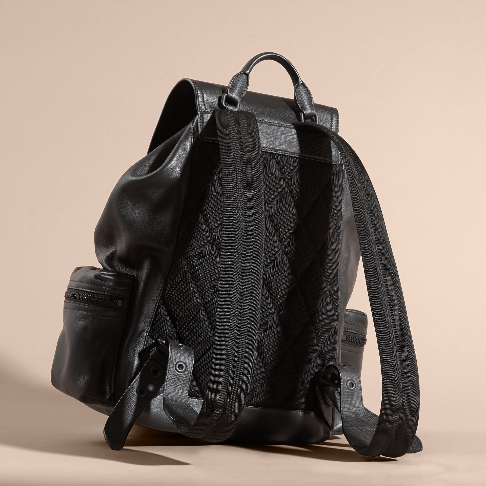 Black The Large Rucksack in Water-repellent Leather Black - gallery image 4