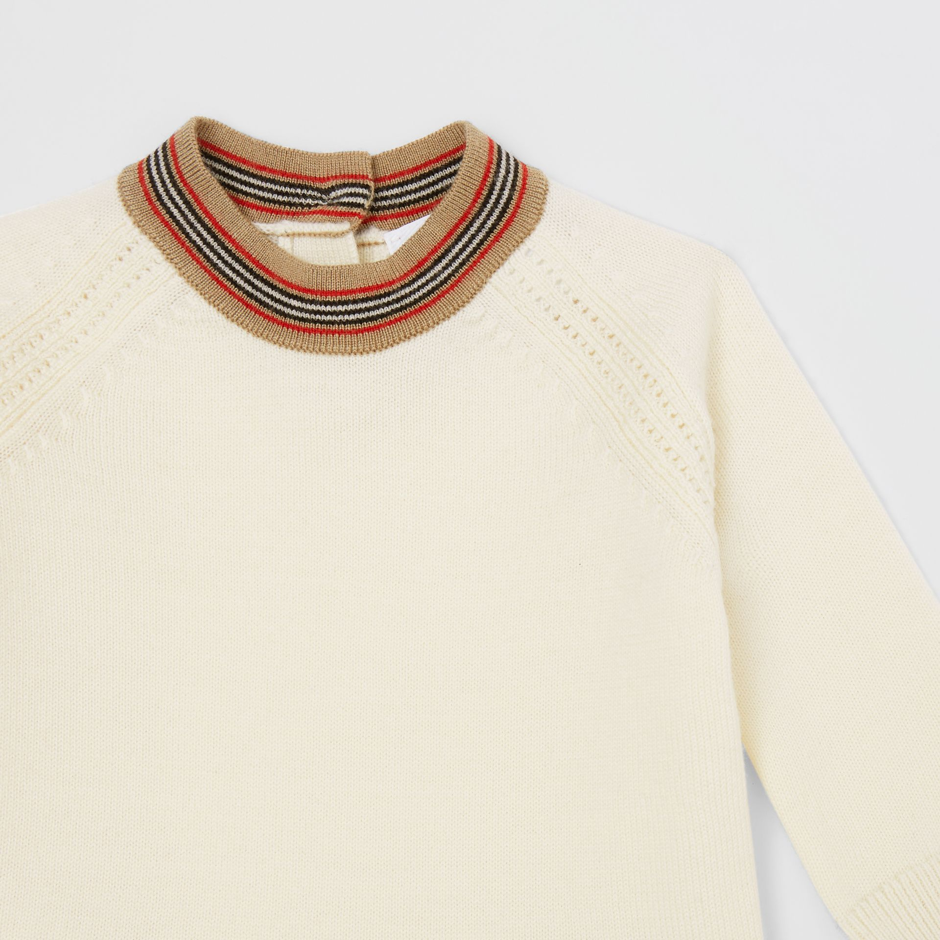 Icon Stripe Trim Merino Wool Dress in Ivory - Children | Burberry United States - gallery image 4
