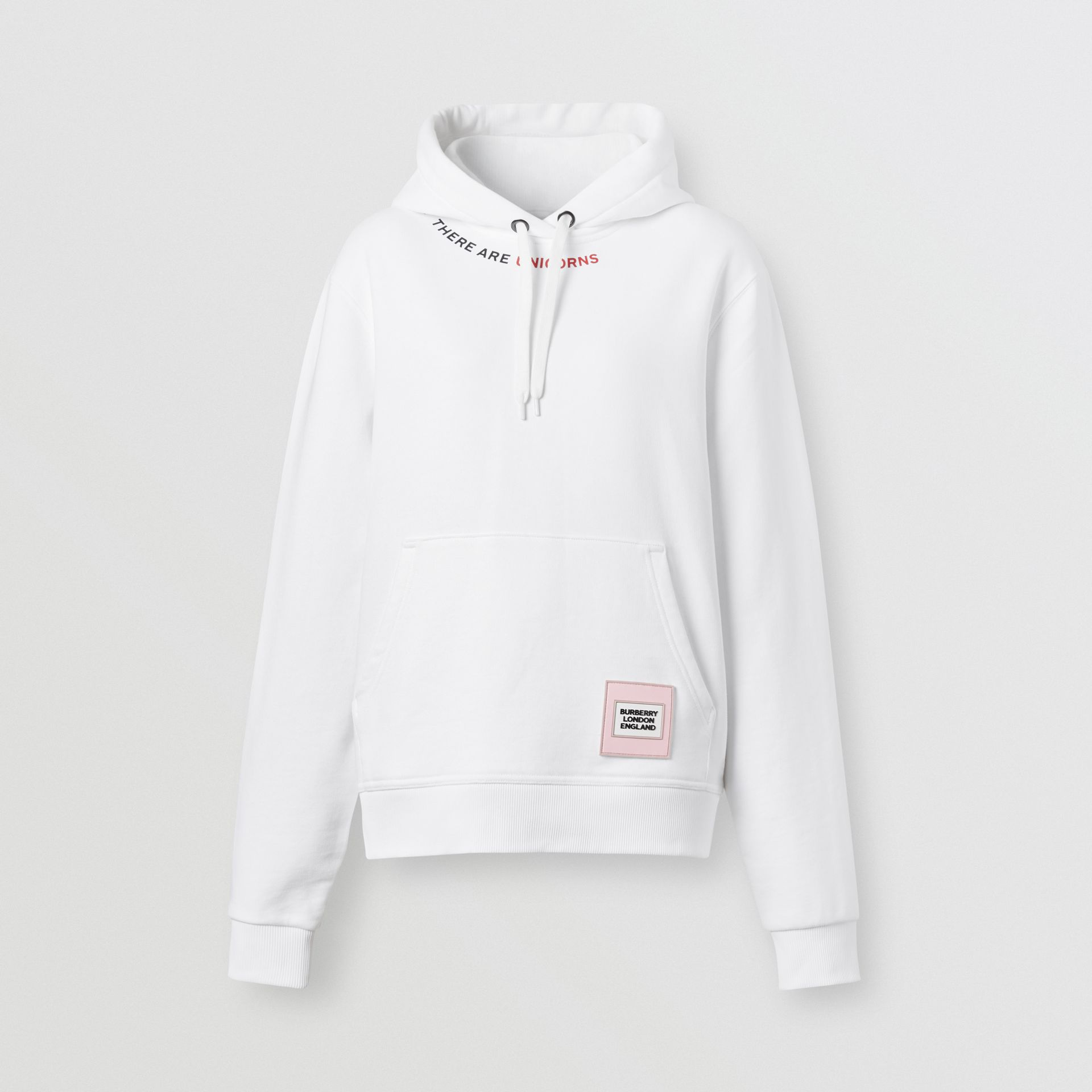Quote Print Cotton Oversized Hoodie in White - Women | Burberry United States - gallery image 3
