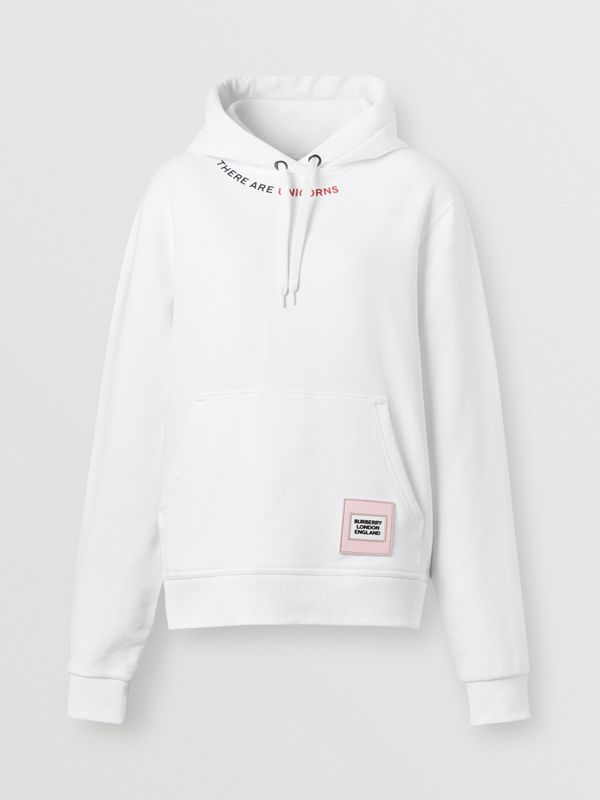 Quote Print Cotton Oversized Hoodie in White - Women | Burberry United States - cell image 3