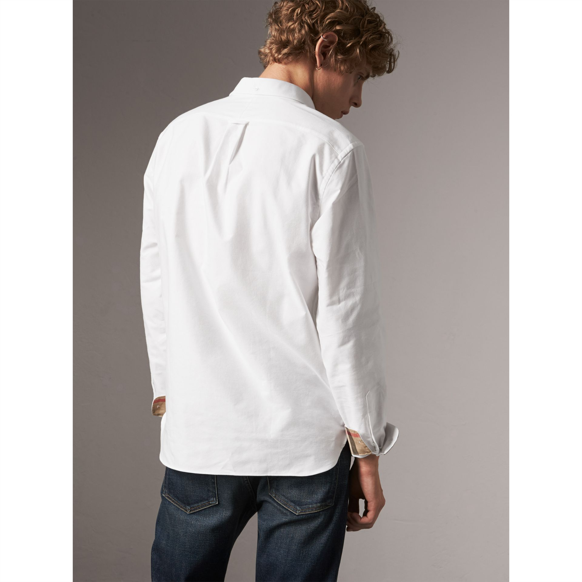 Check Detail Cotton Oxford Shirt in White - Men | Burberry - gallery image 3