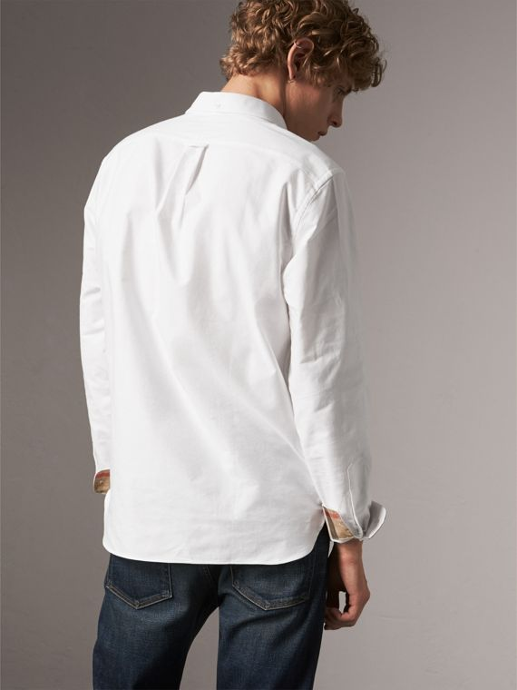 Check Detail Cotton Oxford Shirt in White - Men | Burberry Canada - cell image 2