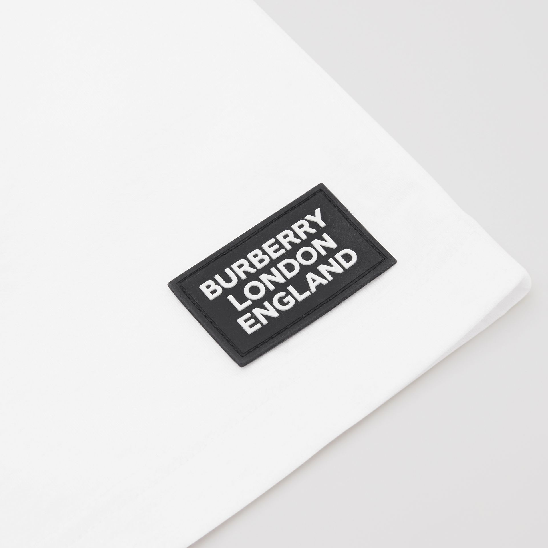 Icon Stripe Trim Cotton T-shirt in White | Burberry Singapore - gallery image 1