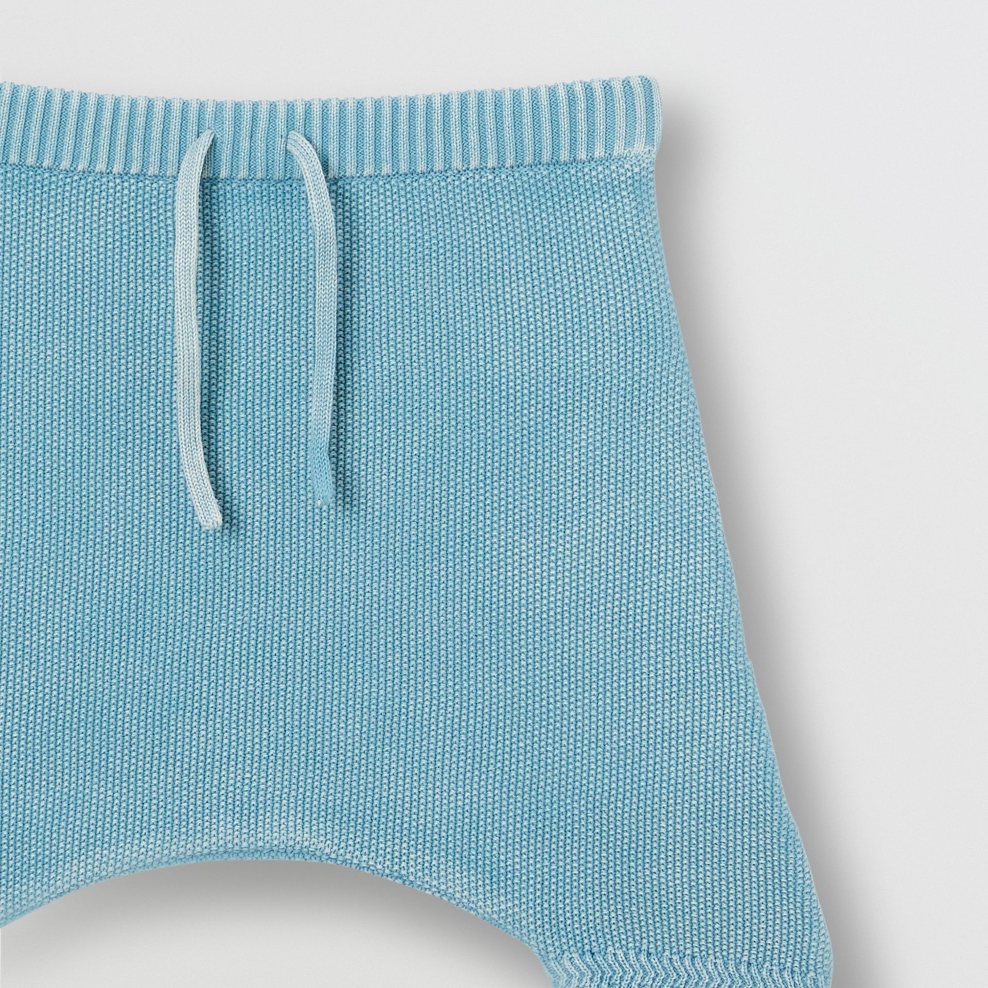Contrast Knit Cotton Two-piece Baby Gift Set in Opal Blue - Children | Burberry Canada - gallery image 7