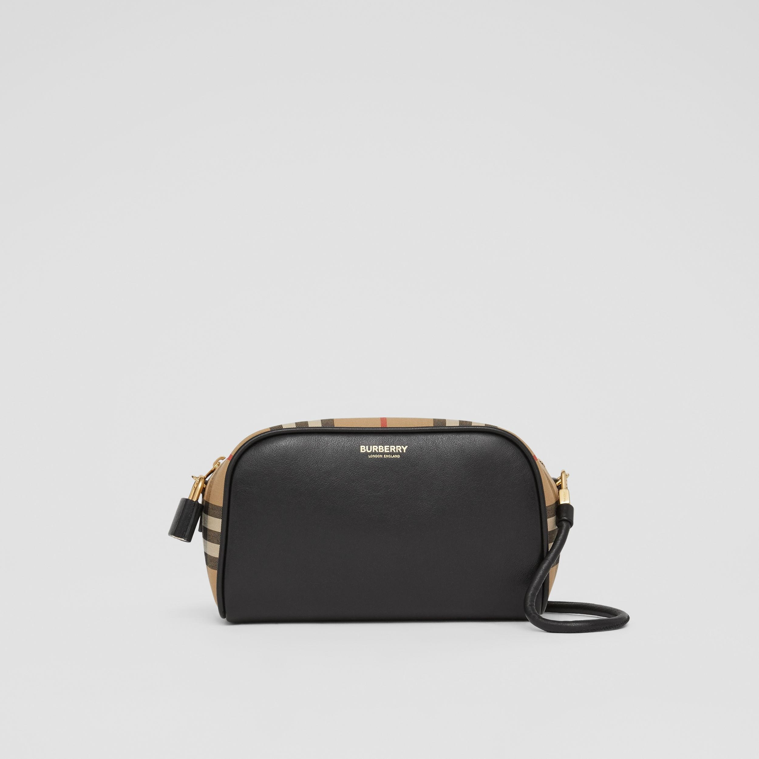 Leather and Vintage Check Half Cube Crossbody Bag in Archive Beige - Women | Burberry Canada - 1