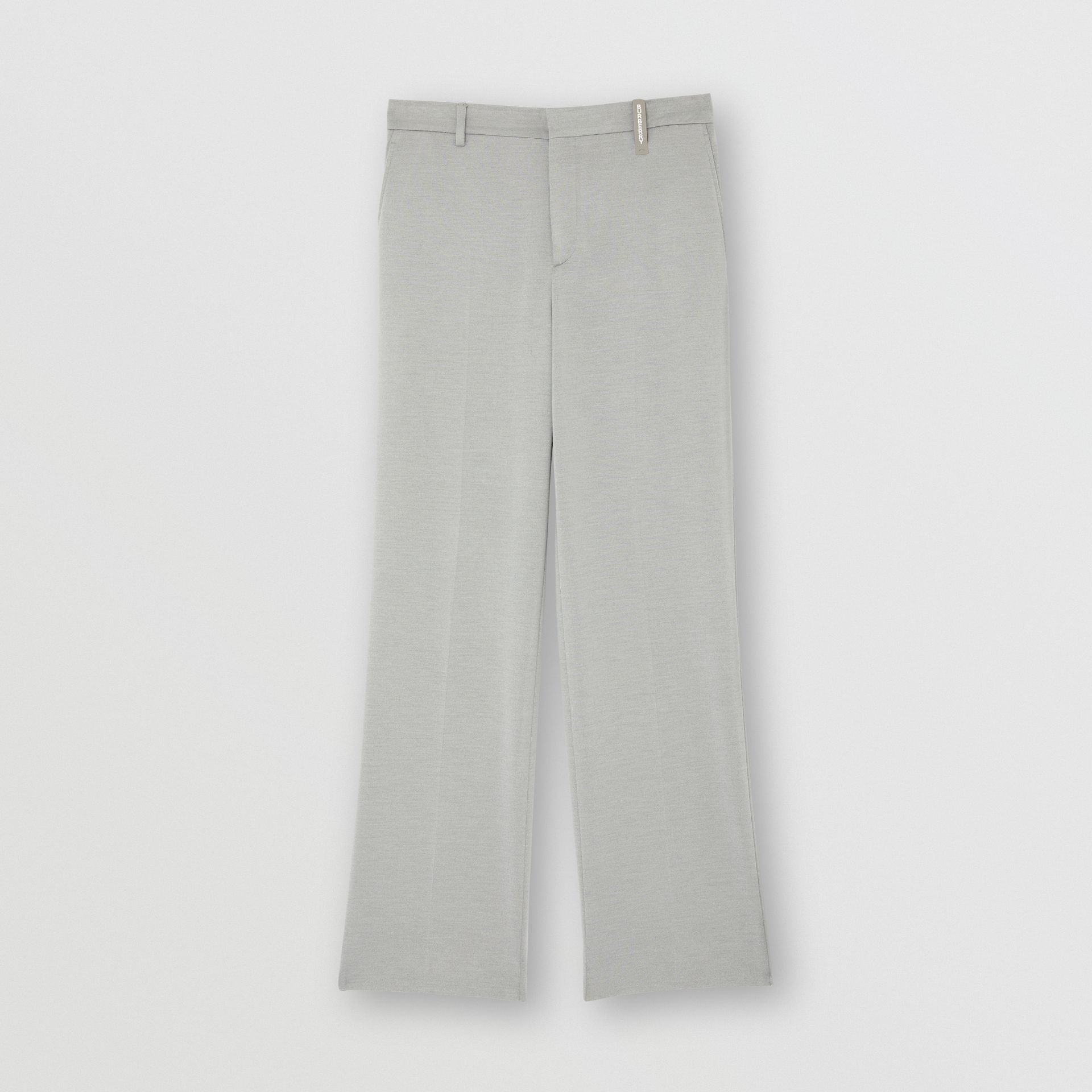 Cashmere Silk Jersey Wide-leg Trousers in Light Pebble Grey | Burberry - gallery image 3