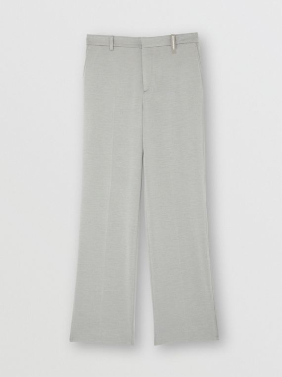 Cashmere Silk Jersey Wide-leg Trousers in Light Pebble Grey