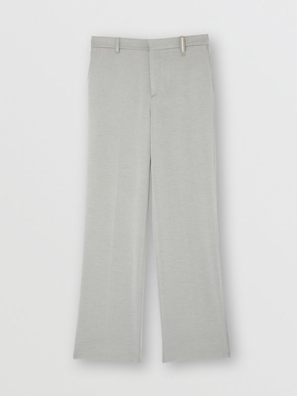 Cashmere Silk Jersey Wide-leg Trousers in Light Pebble Grey | Burberry - cell image 3