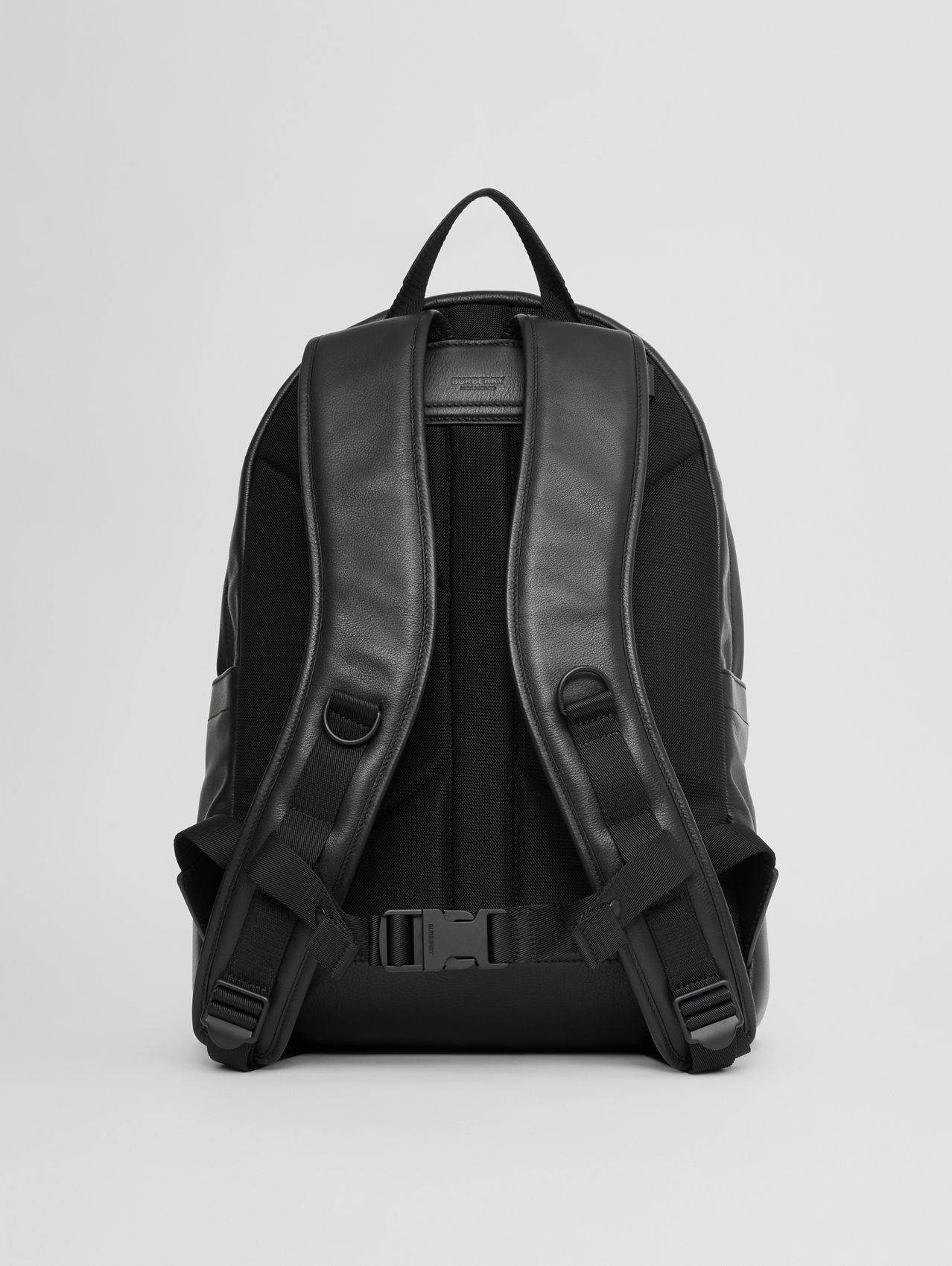 Large Logo Embossed Leather Backpack in Black