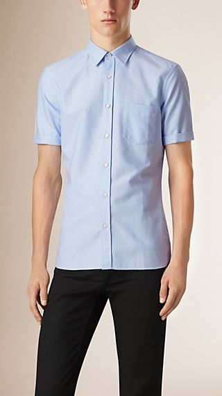 Short-Sleeved Cotton Oxford Shirt