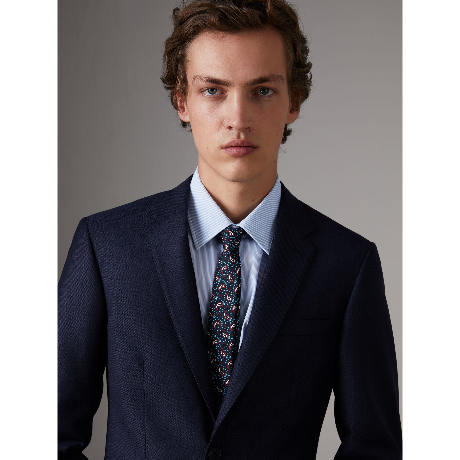 Slim Cut Paisley Silk Twill Tie in Navy - Men | Burberry - gallery image 2