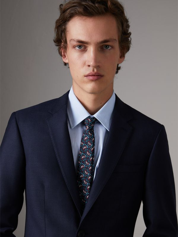 Slim Cut Paisley Silk Twill Tie in Navy - Men | Burberry - cell image 2