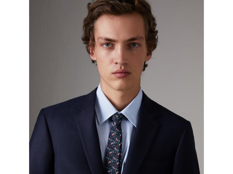 Gravata slim de sarja de seda com estampa Paisley (Azul Marinho) - Homens | Burberry - cell image 2