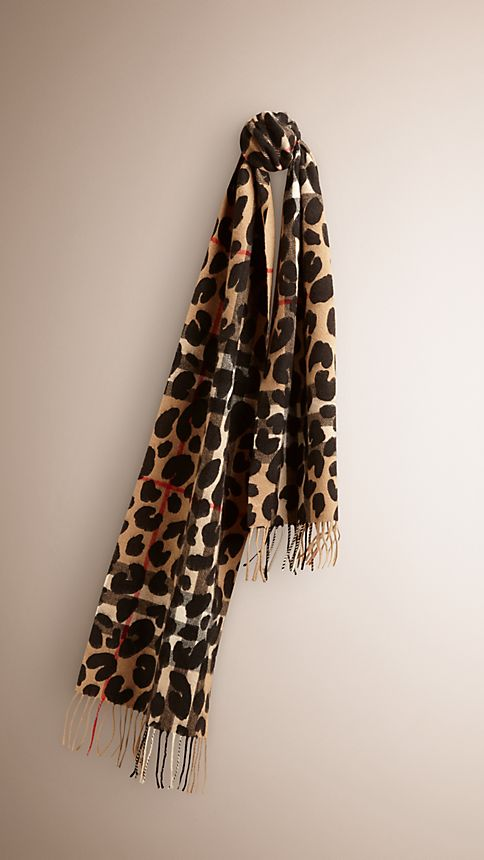 Camel check Animal Print Check Cashmere Scarf - Image 1