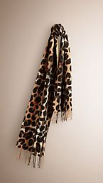 Animal Print Check Cashmere Scarf