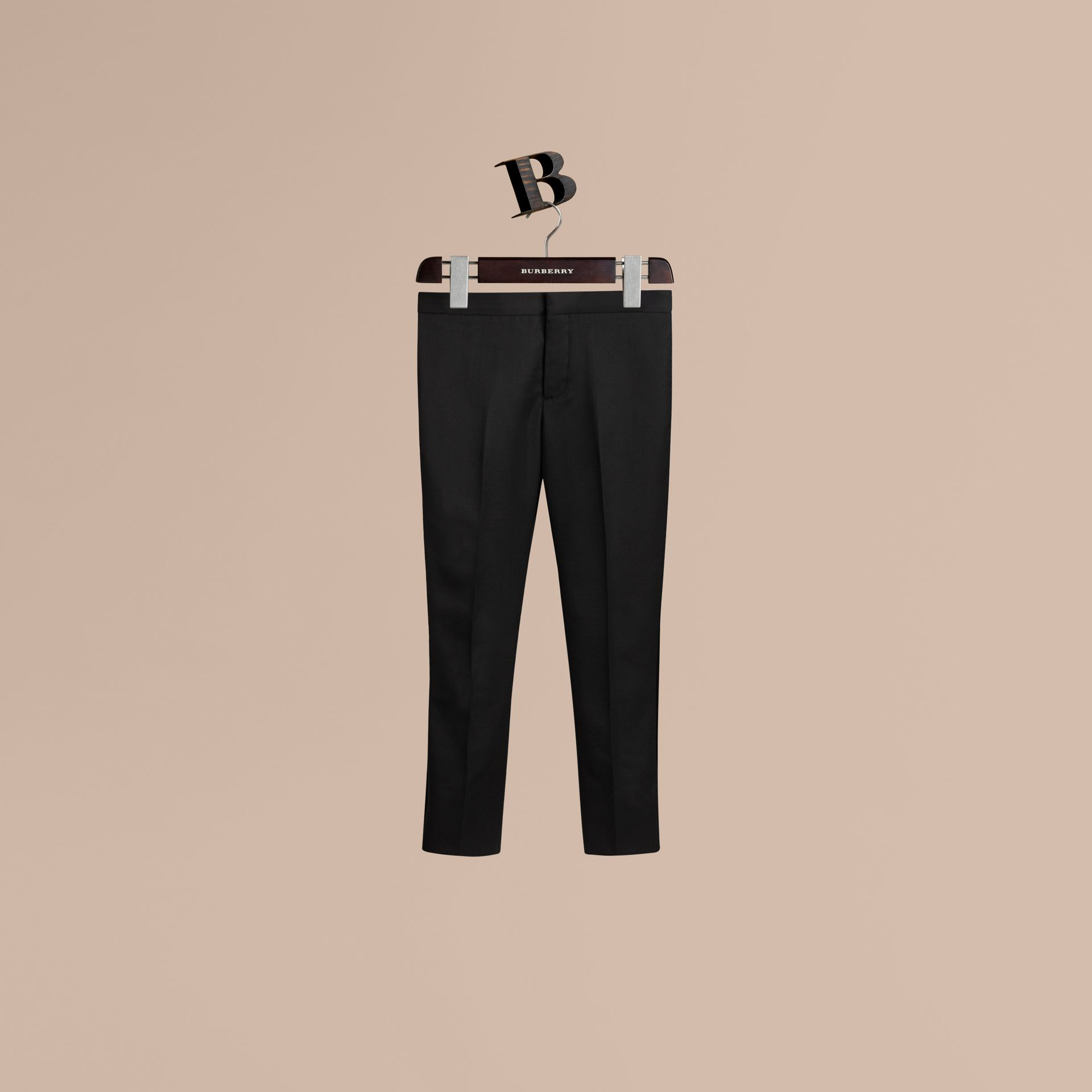 Black Tailored Wool Tuxedo Trousers - gallery image 1