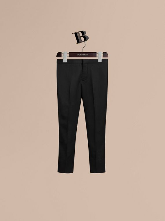Tailored Wool Tuxedo Trousers in Black