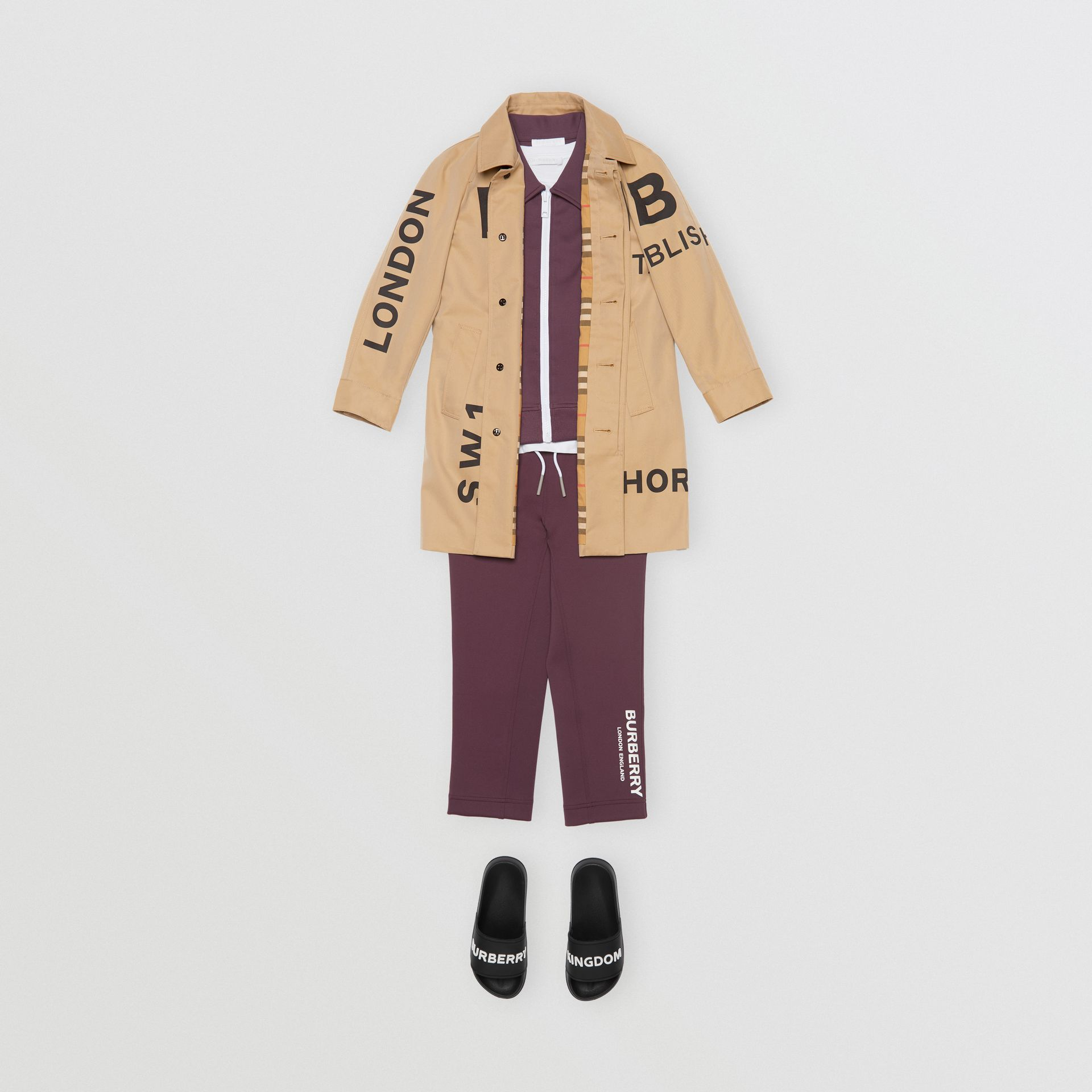 Logo Print Lightweight Trackpants in Claret | Burberry - gallery image 3