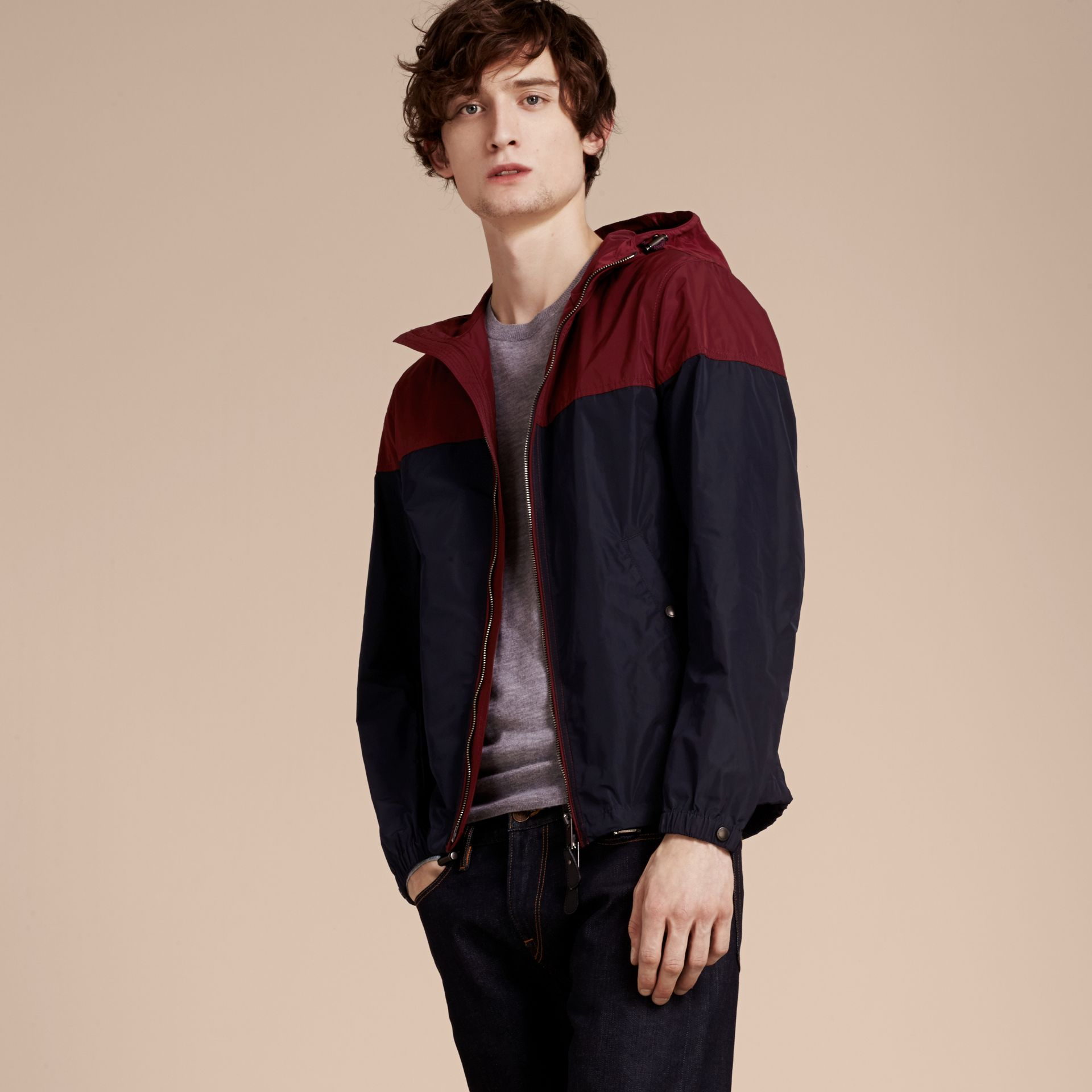 Dark crimson Colour Block Technical Jacket with Hood - gallery image 6