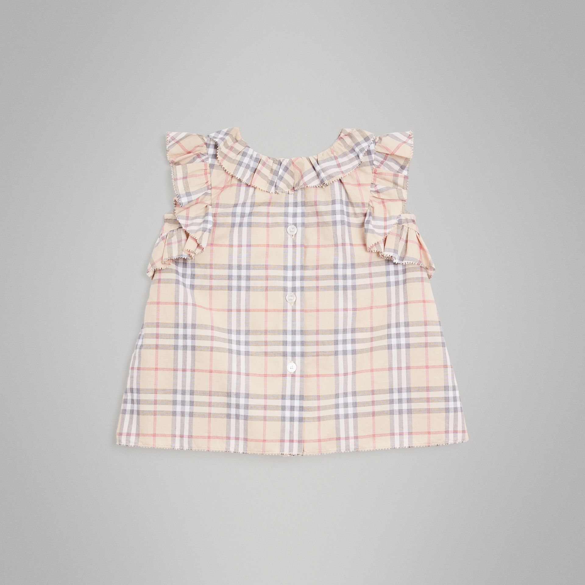 Ruffle Detail Check Cotton Dress with Bloomers in Pale Stone - Children | Burberry - gallery image 4