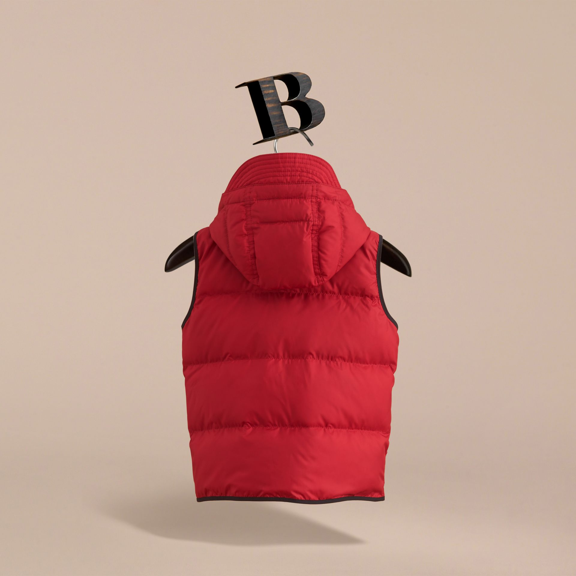 Down-filled Hooded Gilet in Parade Red - Boy | Burberry - gallery image 4