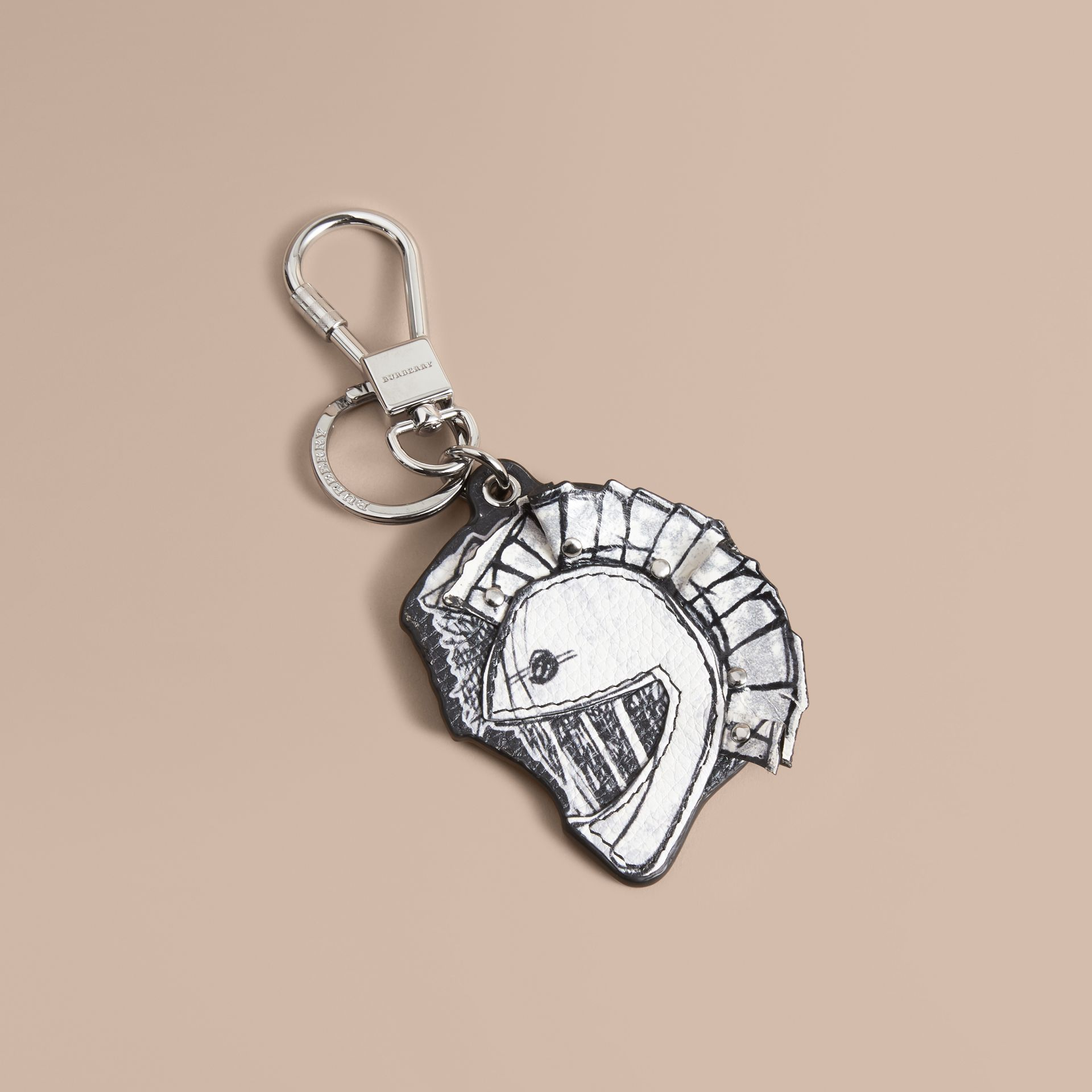 Pallas Helmet Motif Leather Key Ring - Men | Burberry - gallery image 1