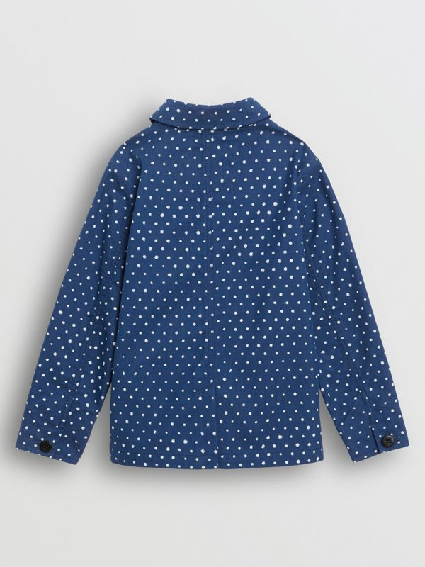Spot Print Cotton Blend Jacket in Bright Navy - Children | Burberry - cell image 3