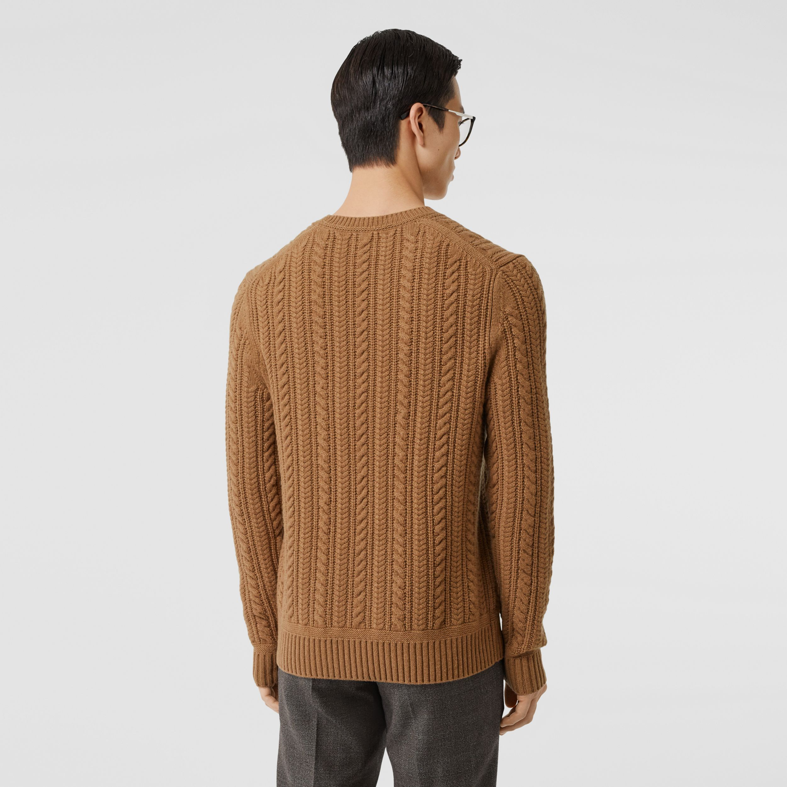 Cable Knit Cashmere Sweater in Maple - Men | Burberry - 3