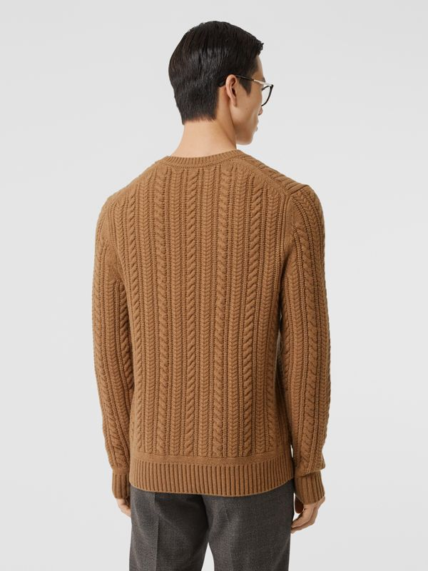 Cable Knit Cashmere Sweater in Maple - Men | Burberry - cell image 2