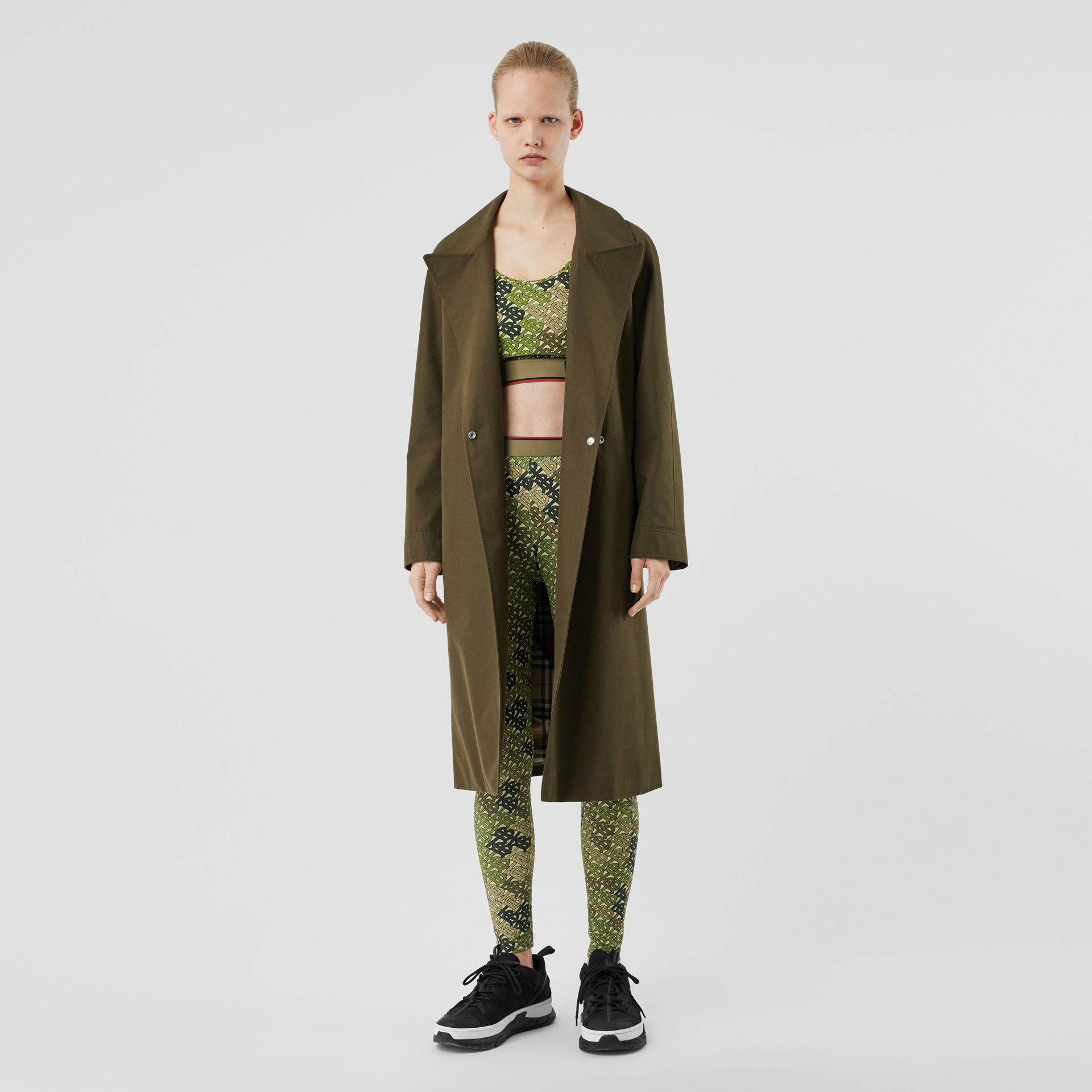 Monogram Print Stretch Jersey Leggings in Khaki Green - Women | Burberry - gallery image 4