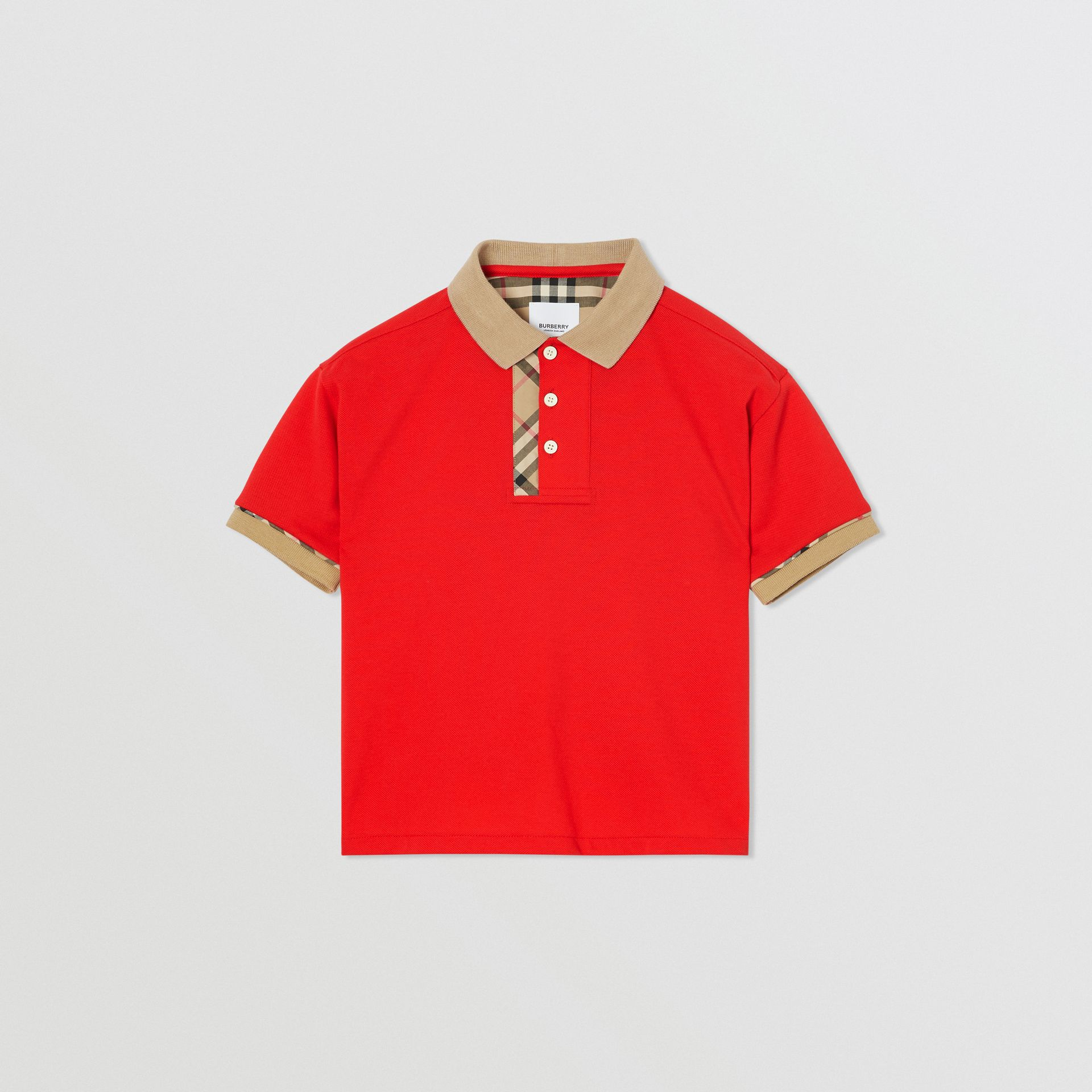 Vintage Check Trim Cotton Polo Shirt in Bright Red | Burberry - gallery image 0
