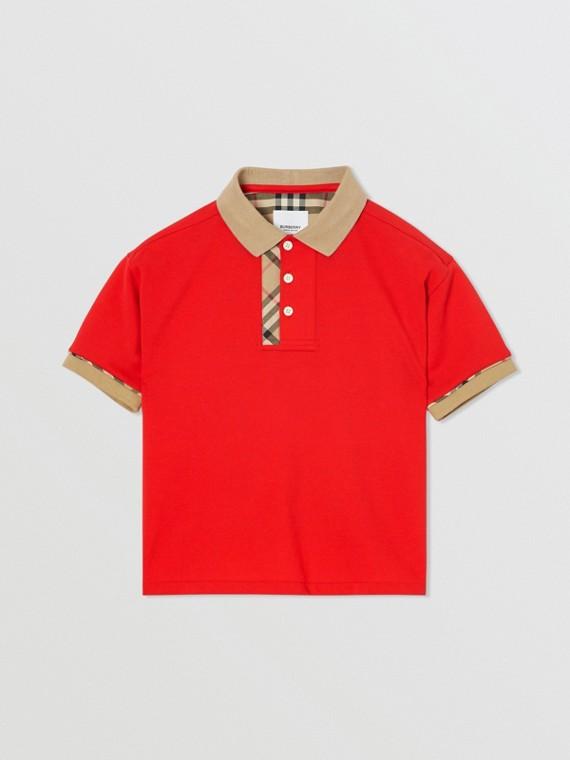 Vintage 格紋飾邊棉質 Polo 衫 (亮紅色)
